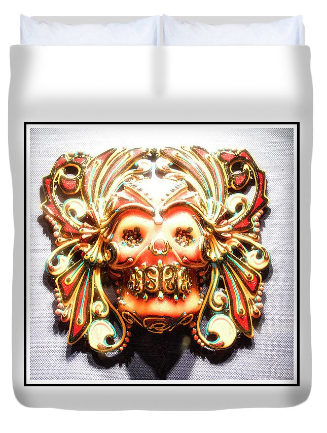 Mexican Duvet Cover featuring the photograph Mexican Day Of The Dead Mask by A Gurmankin