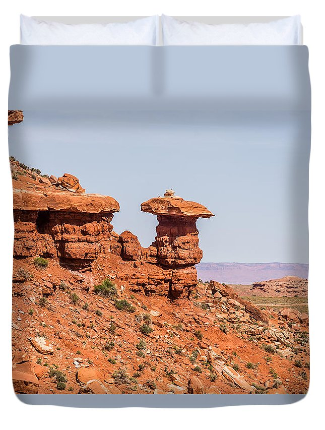 Mexican Duvet Cover featuring the photograph Mexican Hat Rock Monument Landscape On Sunny Day by Alex Grichenko