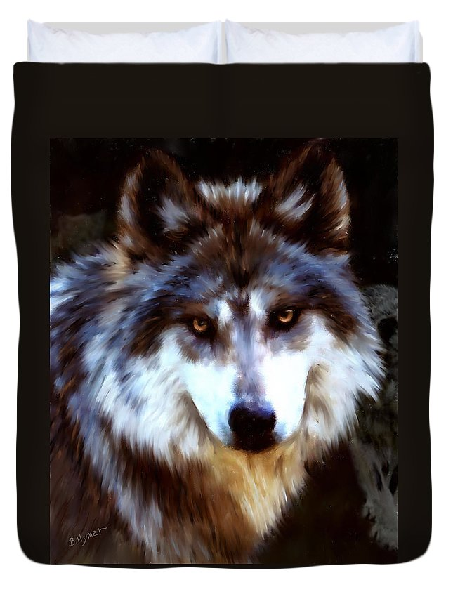 Wolf Duvet Cover featuring the digital art Mexican Wolves by Barbara Hymer