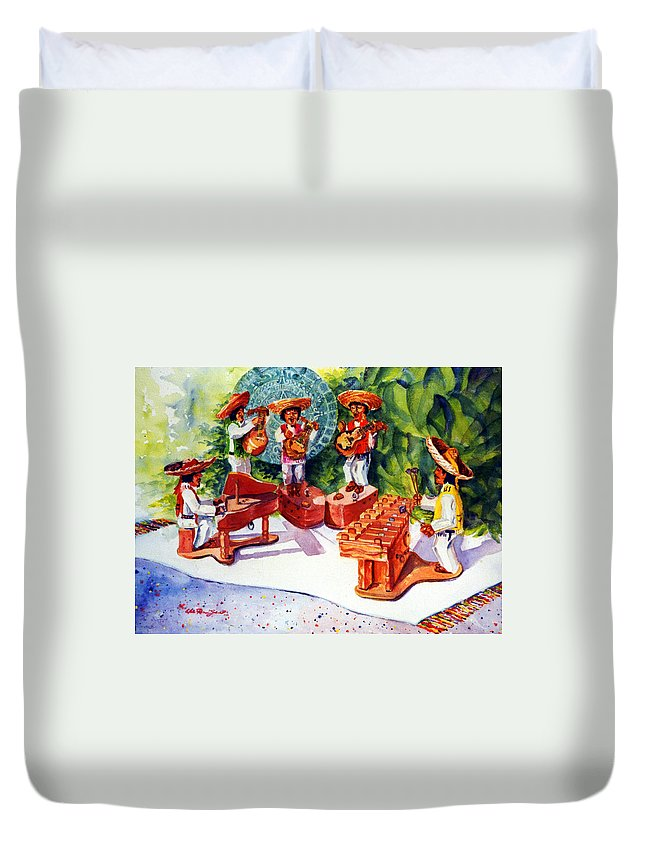 Mexico Painting Duvet Cover featuring the painting Mexico Mariachis by Estela Robles