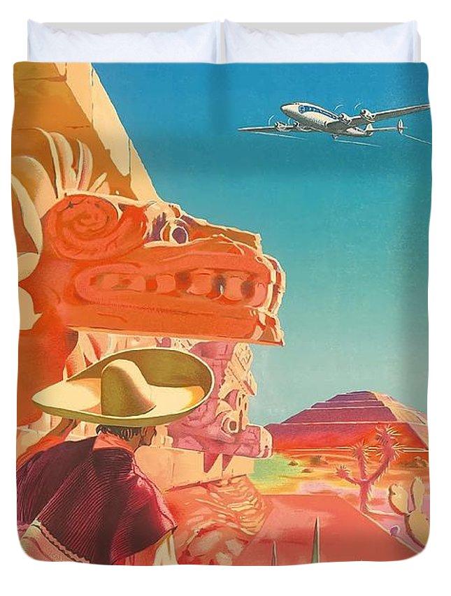 Paris France Mexico Mayan Ruins Vintage Airline Travel Art Poster Print