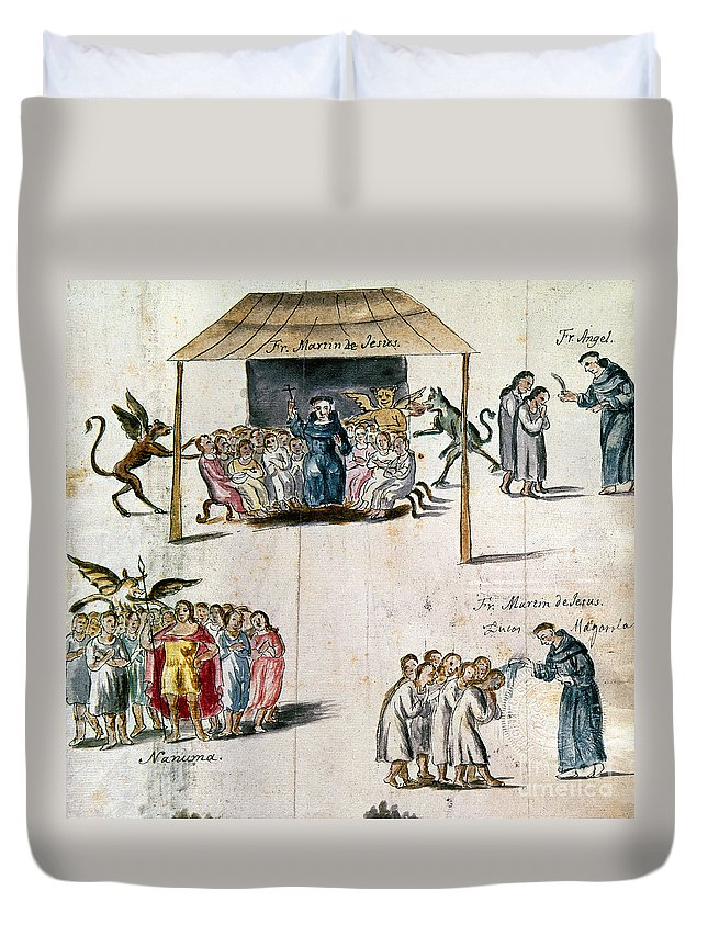 1750 Duvet Cover featuring the photograph Mexico: Missionaries by Granger