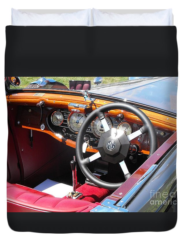 Mg Duvet Cover featuring the photograph Mg Dashboard by Neil Zimmerman