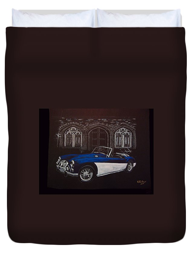 Mga Duvet Cover featuring the painting Mga At Night by Richard Le Page