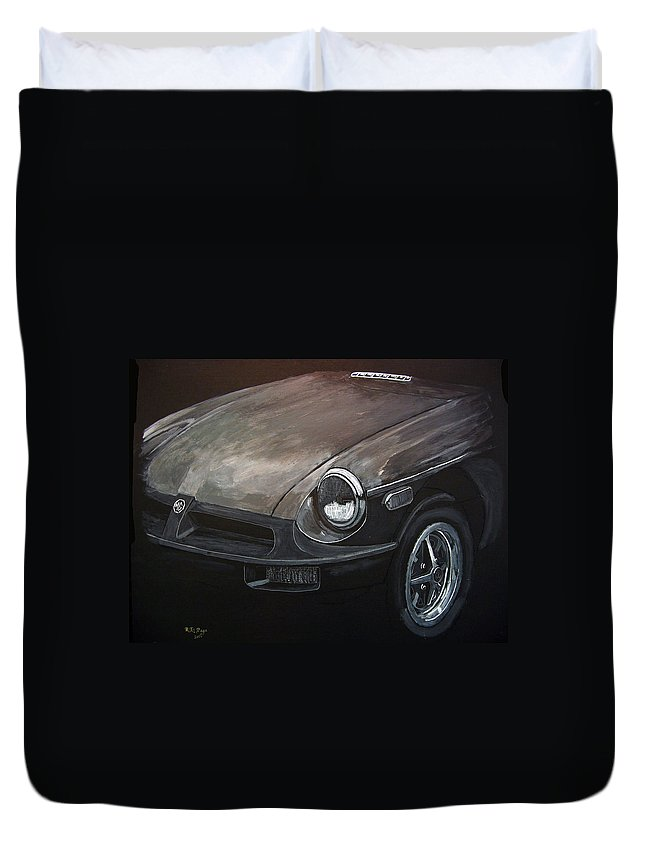 Car Duvet Cover featuring the painting Mgb Rubber Bumper Front by Richard Le Page