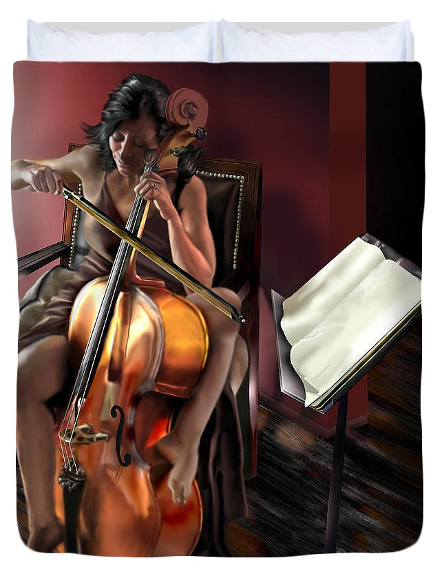 Cello Duvet Cover featuring the painting Mi Chica - Solace In The Unseen by Reggie Duffie