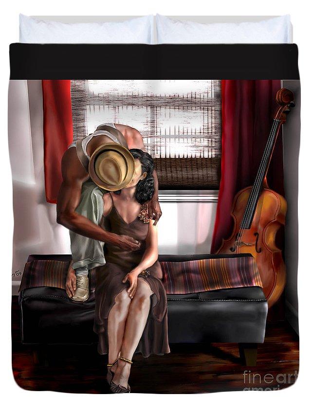 Cello Duvet Cover featuring the painting Mi Chica-amo A Mi Esposita by Reggie Duffie