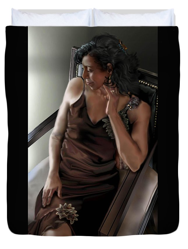 Lady Sitting In Chair Painting Duvet Cover featuring the painting Mi Chica-beauty From Within by Reggie Duffie