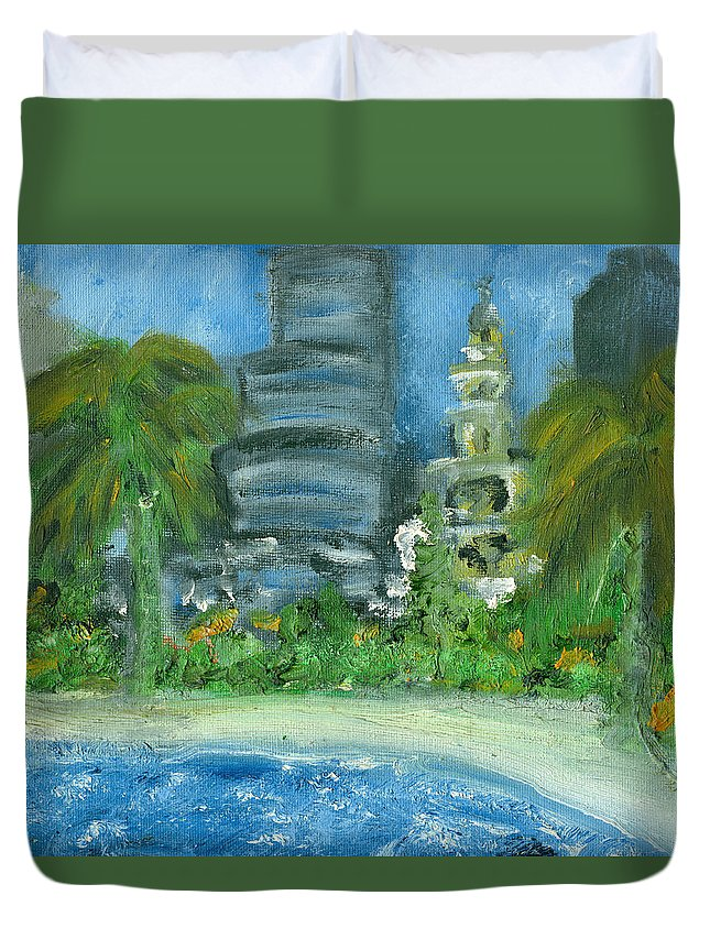 Miami Duvet Cover featuring the painting Mi Miami by Jorge Delara