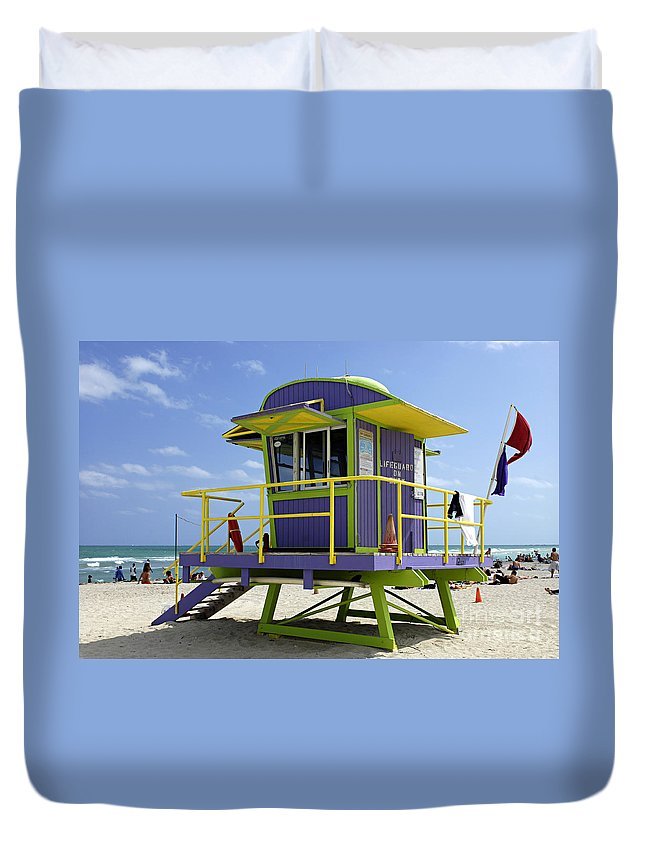 Miami Beach Duvet Cover featuring the photograph Miami Beach by Bob Christopher