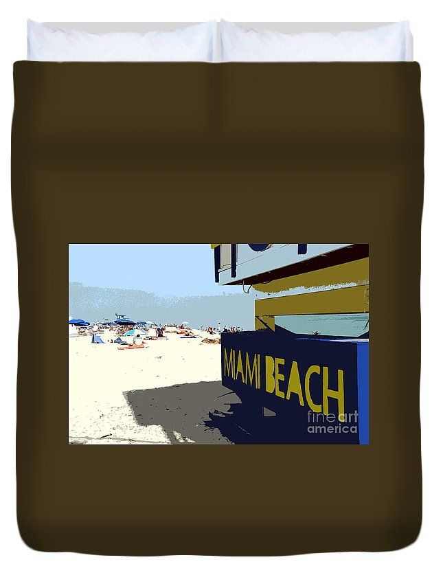 Miami Beach Florida Duvet Cover featuring the photograph Miami Beach Work Number 1 by David Lee Thompson