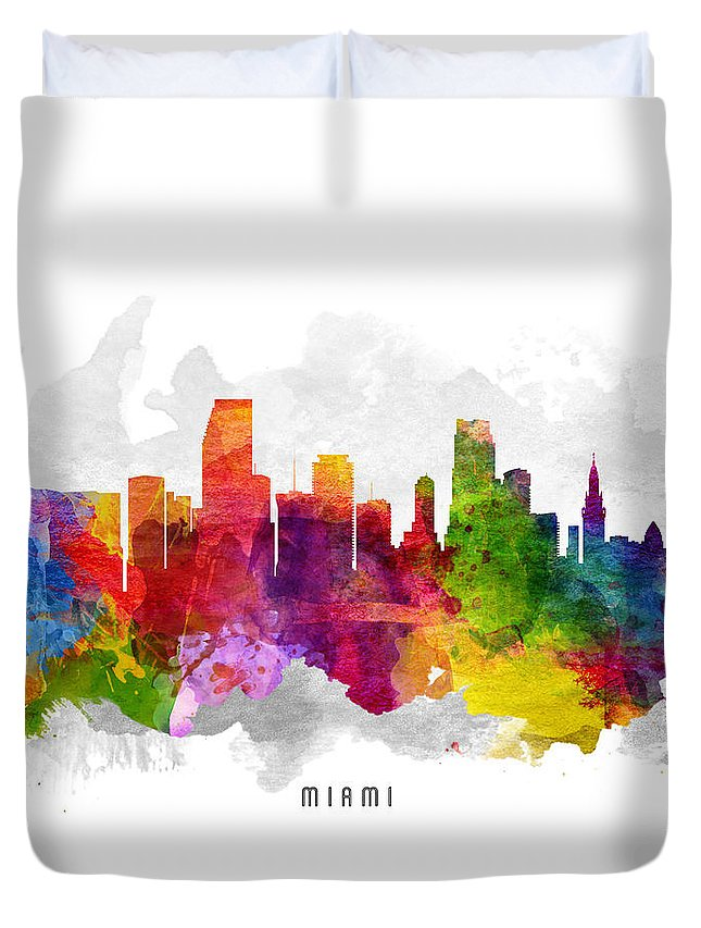Miami Duvet Cover featuring the painting Miami Florida Cityscape 13 by Aged Pixel