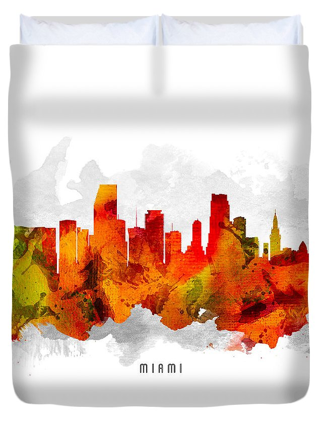 Miami Duvet Cover featuring the painting Miami Florida Cityscape 15 by Aged Pixel