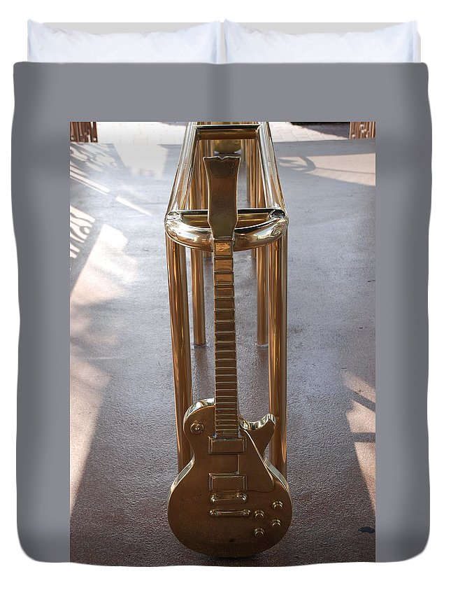 Brass Duvet Cover featuring the photograph Miami Hard Rock Brass Rail by Rob Hans