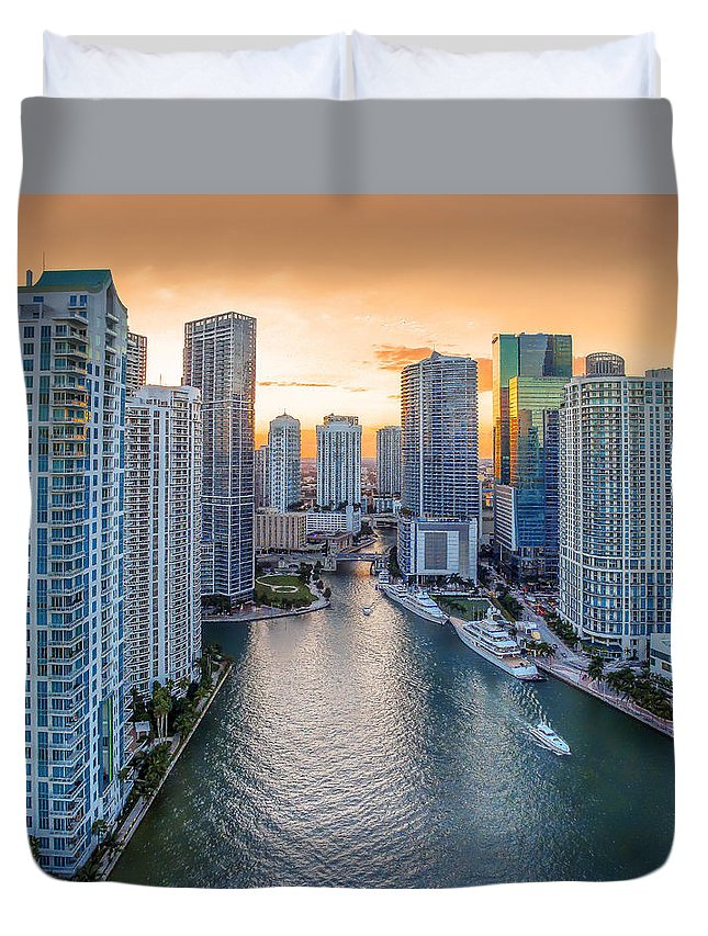 Miami Duvet Cover featuring the photograph Miami River Fron The Drone by Coco Moni