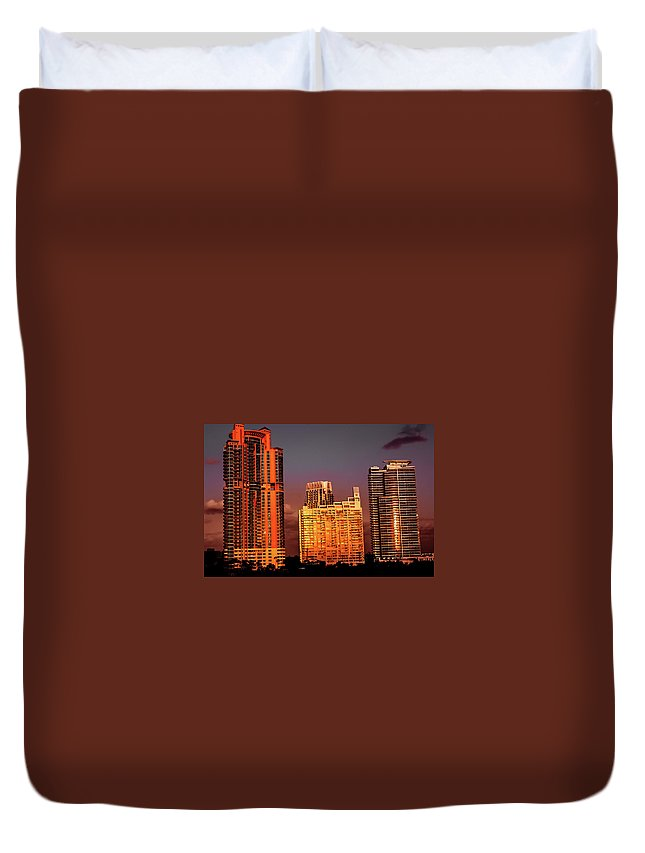 Sunset Duvet Cover featuring the photograph Miami Sunset by Devinely Unique Photography