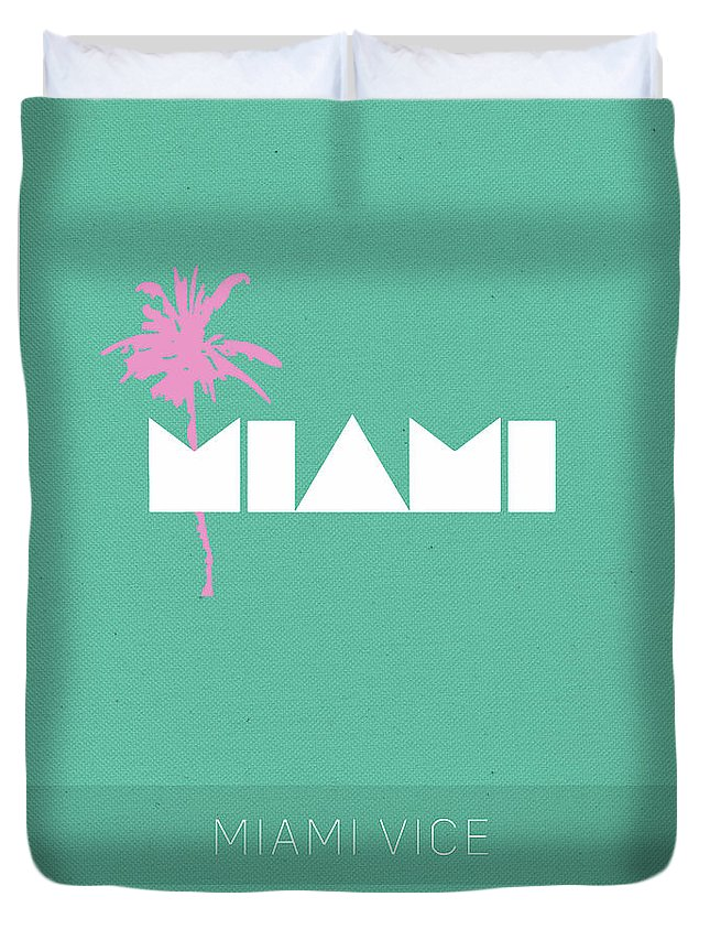 Miami Vice Duvet Cover featuring the mixed media Miami Vice My Favorite Tv Shows Series 018 by Design Turnpike