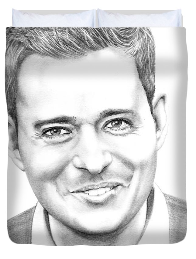 Pencil Duvet Cover featuring the drawing Michael Buble' by Murphy Elliott