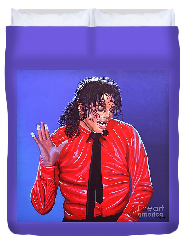 Michael Jackson Duvet Cover featuring the painting Michael Jackson 2 by Paul Meijering