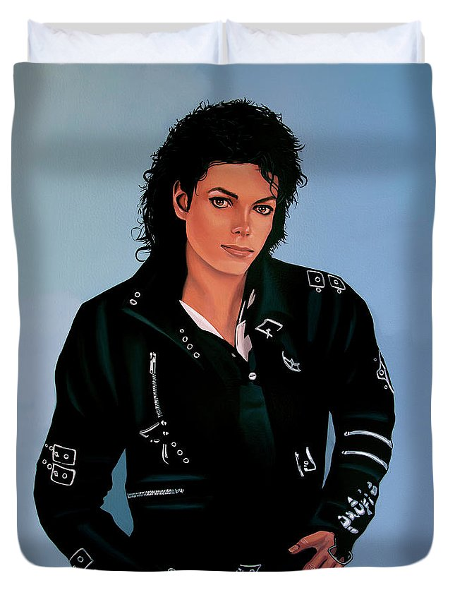 Michael Jackson Duvet Cover featuring the painting Michael Jackson Bad by Paul Meijering