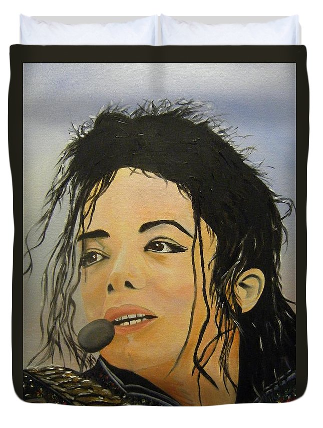 Michael Jackson Duvet Cover featuring the painting Michael Jackson by Joseph Papale