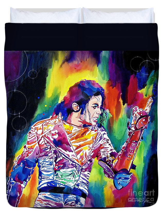 Michael Jackson Duvet Cover featuring the painting Michael Jackson Showstopper by David Lloyd Glover
