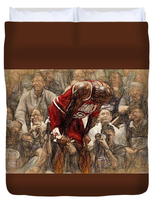 Michael Jordan Duvet Cover featuring the painting Michael Jordan The Flu Game by John Farr