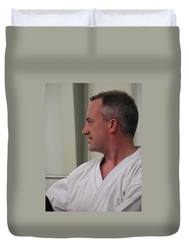 Karate Duvet Cover featuring the photograph Michael by Kelly Mezzapelle