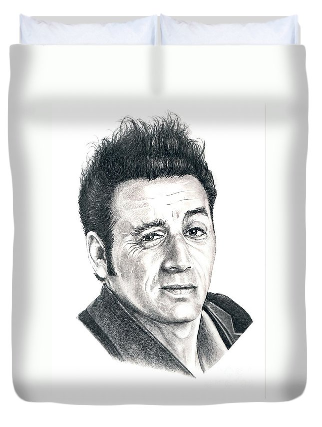 Pencil Duvet Cover featuring the drawing Michael Richards Cosmo Kramer by Murphy Elliott