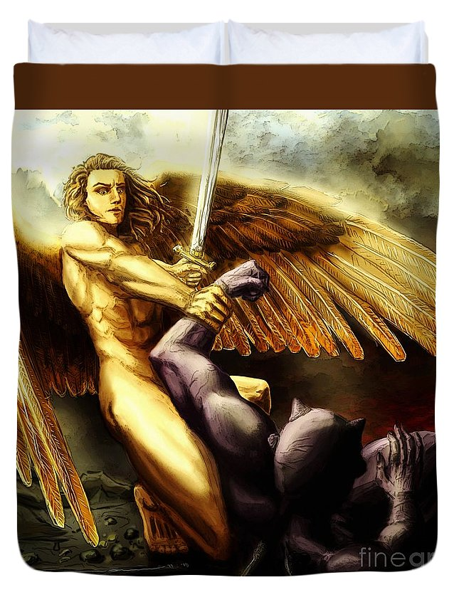 San Duvet Cover featuring the painting Michael Vs Devil by Archangelus Gallery