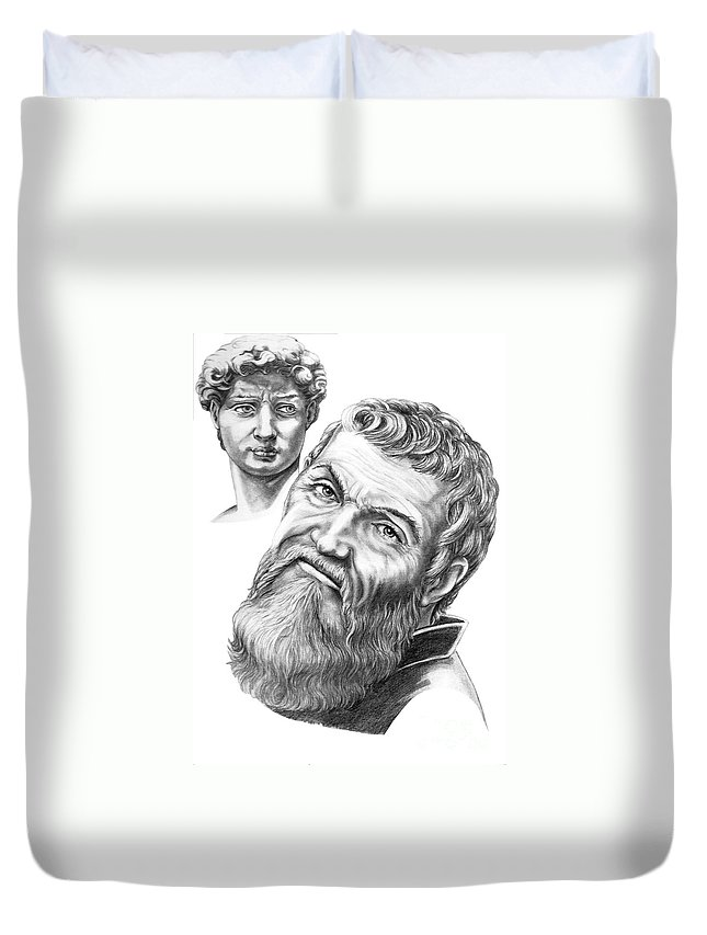 Michelangelo Duvet Cover featuring the drawing Michelangelo And David by Murphy Elliott
