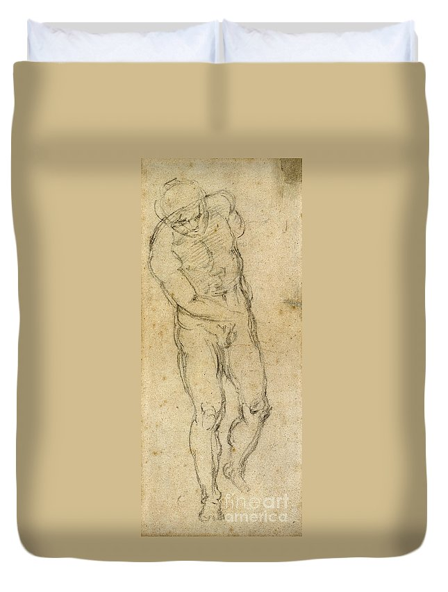 1560 Duvet Cover featuring the painting Michelangelo: Male Nude by Granger