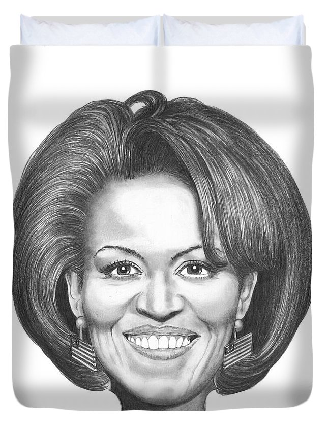 Drawing Duvet Cover featuring the drawing Michelle Obama by Murphy Elliott