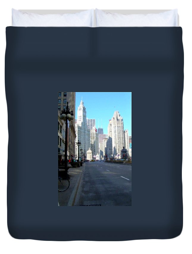 Chicago Duvet Cover featuring the digital art Michigan Ave Tall by Anita Burgermeister