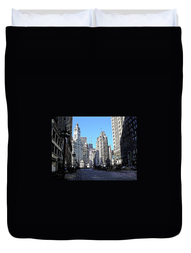 Chicago Duvet Cover featuring the digital art Michigan Ave Wide by Anita Burgermeister