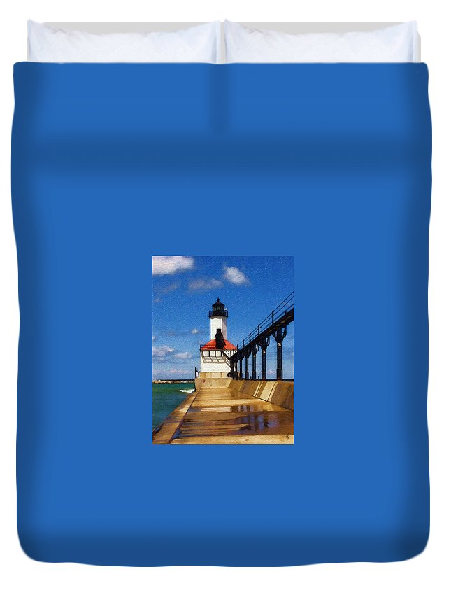 Lighthouse Duvet Cover featuring the photograph Michigan City Light 1 by Sandy MacGowan