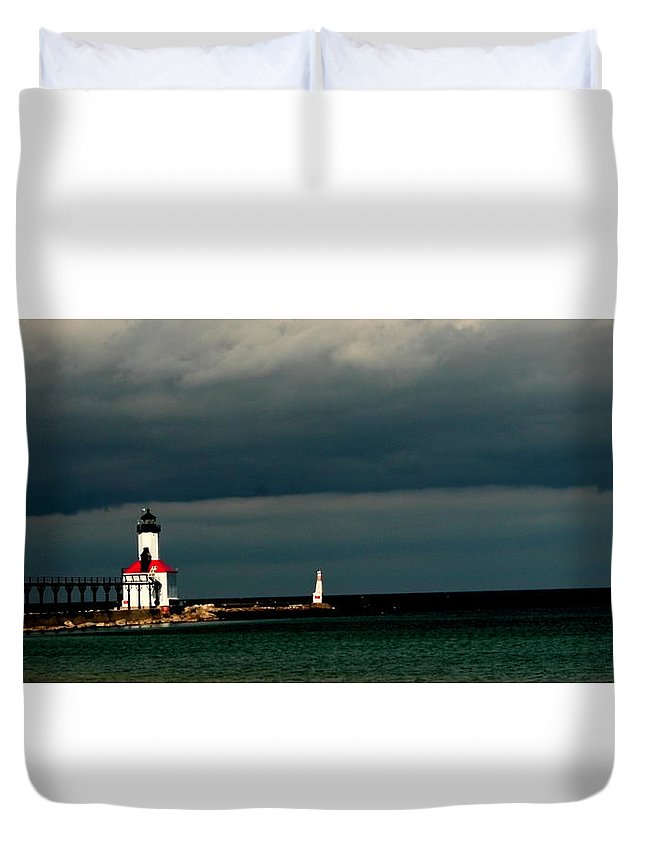 #michigan City Lighthouse Duvet Cover featuring the photograph Michigan City Lighthouse By Earl's Photography by Earl Eells a