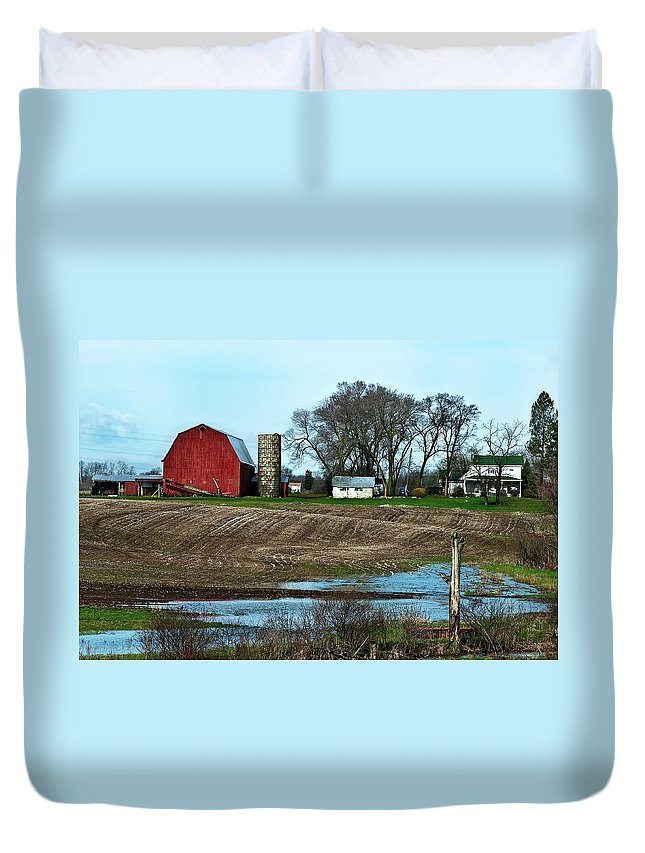 Barn Duvet Cover featuring the photograph Michigan Farm by Onyonet Photo Studios