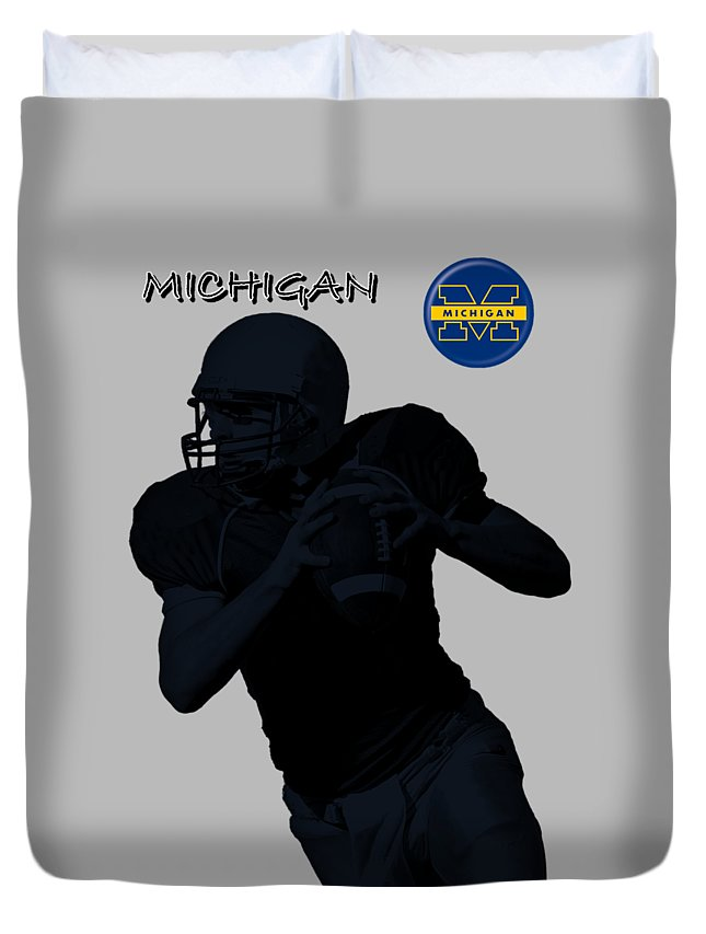 Football Duvet Cover featuring the digital art Michigan Football by David Dehner