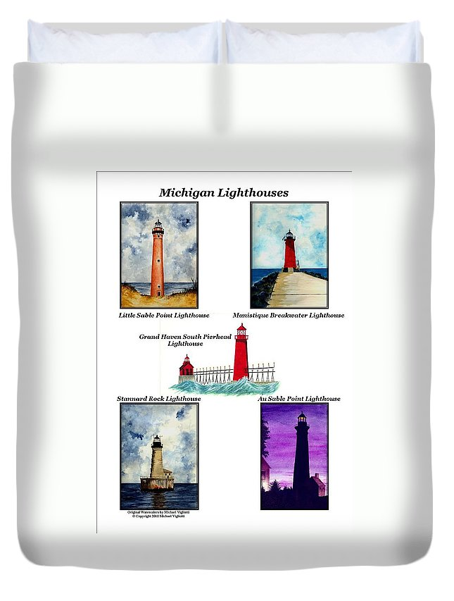 Lighthouse Duvet Cover featuring the painting Michigan Lighthouses Montage by Michael Vigliotti