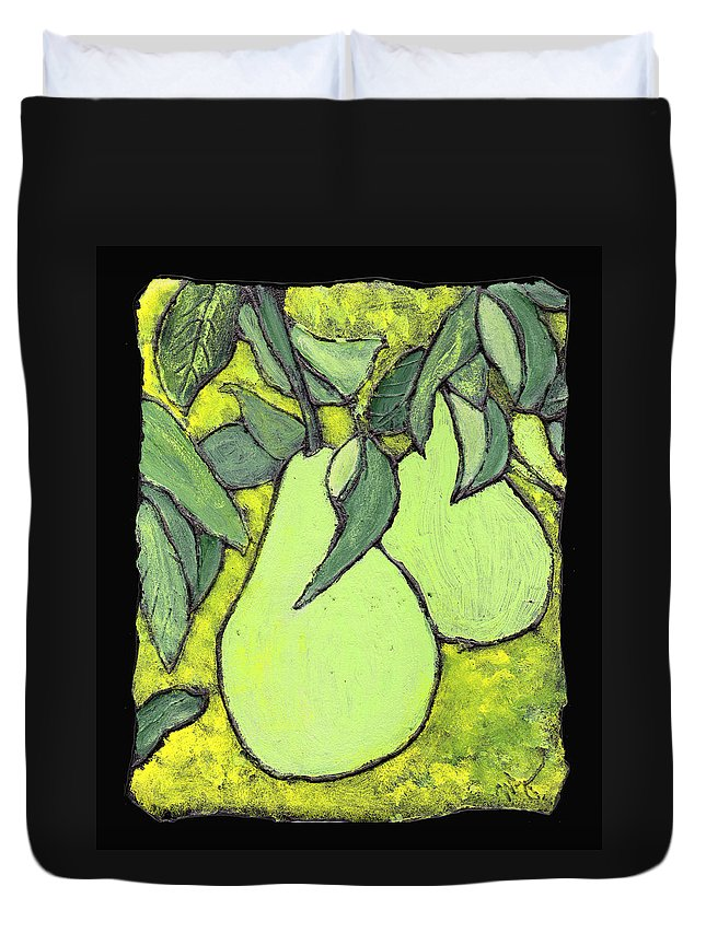 Pears Duvet Cover featuring the painting Michigan Pears by Wayne Potrafka