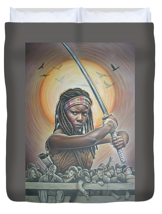 Walkingdead Duvet Cover featuring the painting Michonne by David Easterly