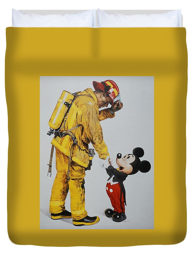 Walt Disney World Duvet Cover featuring the photograph Mickey And The Bravest by Rob Hans
