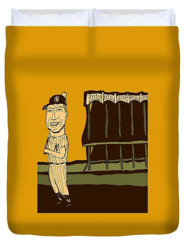 Mickey Mantle Duvet Cover featuring the mixed media Mickey Mantle Yankee Stadium by Jay Perkins