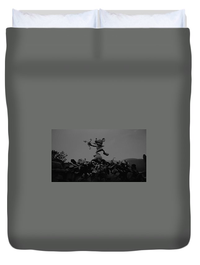Black And White Duvet Cover featuring the photograph Mickey Mouse In Black And White by Rob Hans