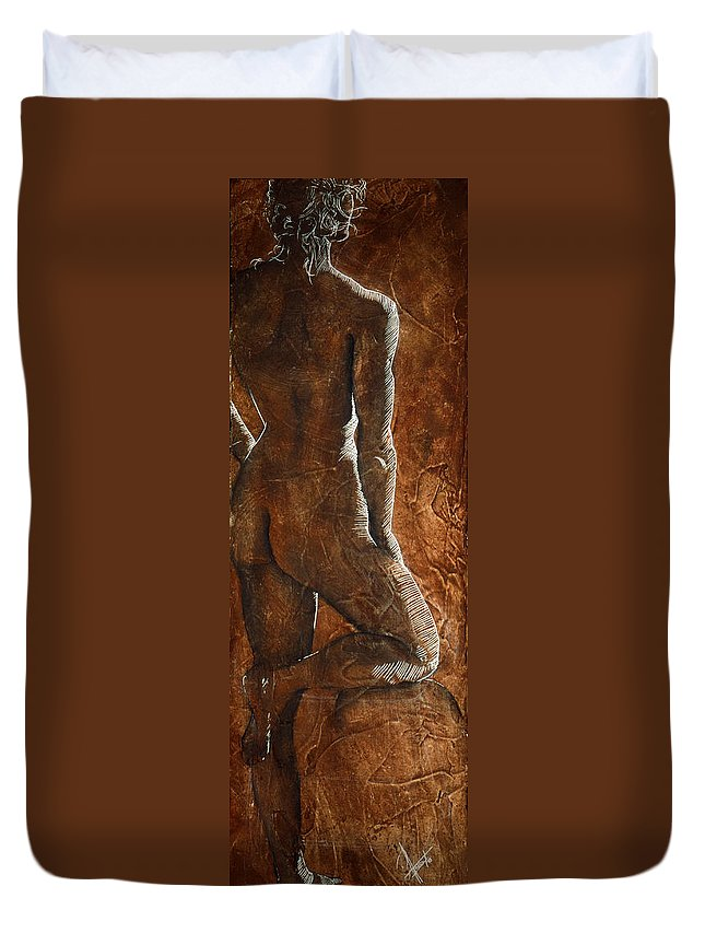 Nude Duvet Cover featuring the painting Mickey Xx by Richard Hoedl