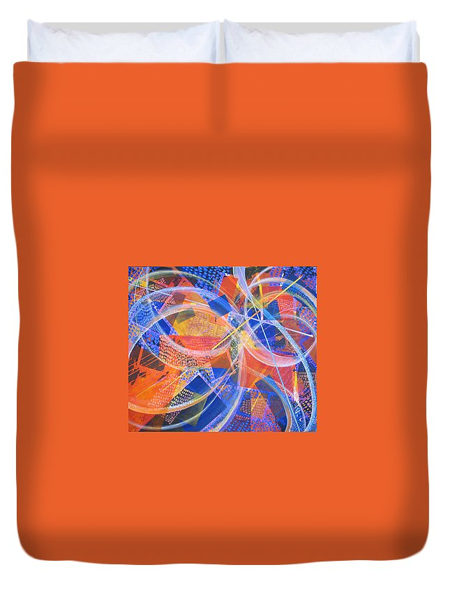 Non-representational Duvet Cover featuring the painting Microcosm XIII by Rollin Kocsis