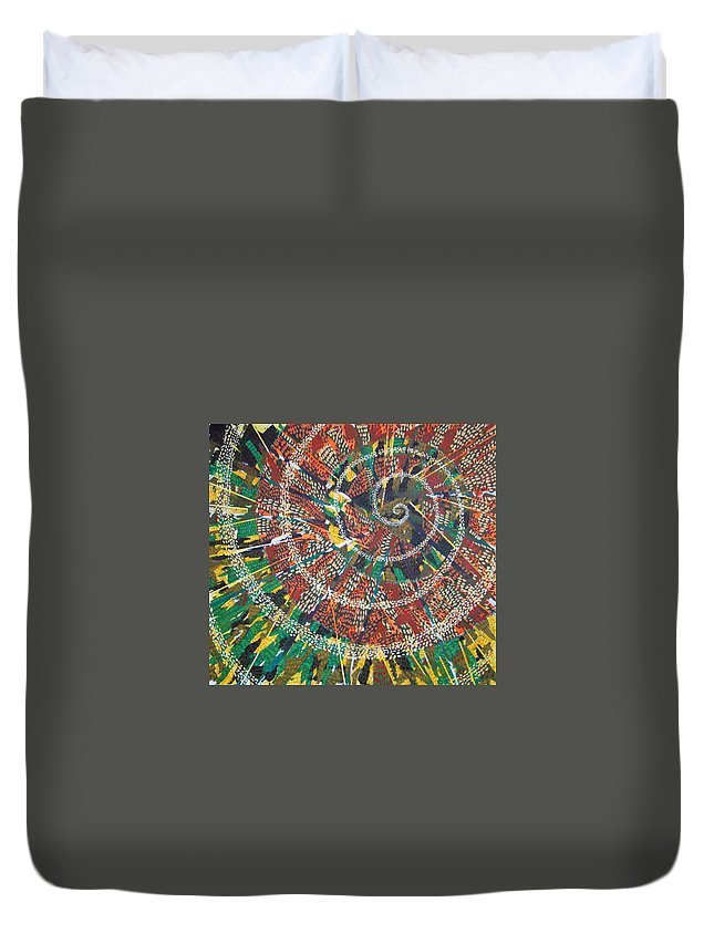 Non-representational Duvet Cover featuring the painting Microcosm XIV by Rollin Kocsis