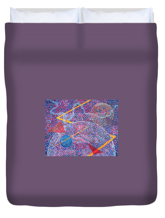 Abstract Duvet Cover featuring the painting Microcosm XV by Rollin Kocsis
