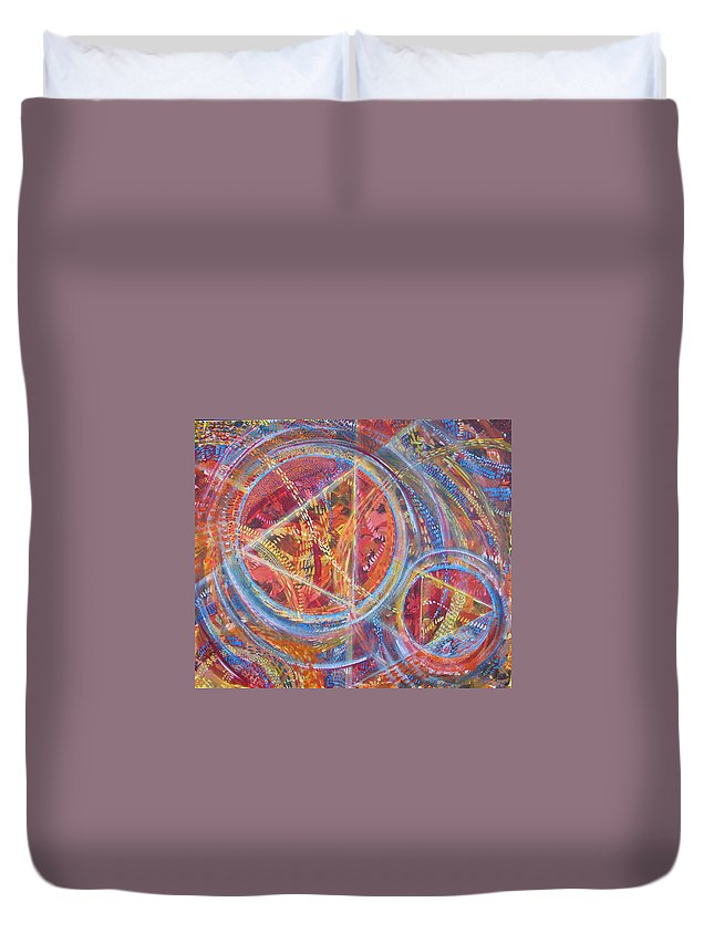 Geometric Duvet Cover featuring the painting Microcosm XVI by Rollin Kocsis